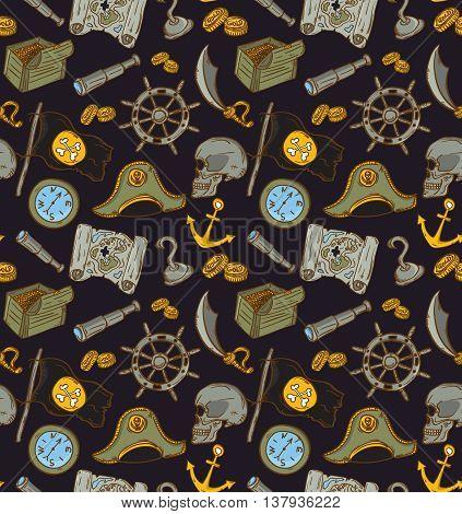 Hand drawn seamless pirate pattern. Vector illustration. Map saber flag anchor spyglass roger treasure bone money compass.