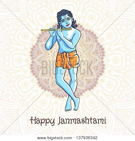 Cartoon Krishna With A Flute. Greeting Card For Krishna Birthday. Vector Illustration Isolated On A
