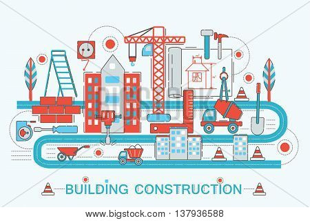 Modern Flat thin Line design Construction and architect building concept for web banner website, presentation, flyer and poster