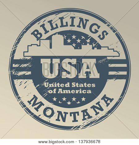 Grunge rubber stamp with name of Montana, Billings, vector illustration