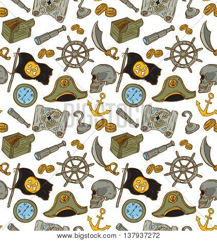 Hand drawn seamless pirate pattern. Vector illustration. Map saber flag anchor spyglass roger treasure bone money compass.