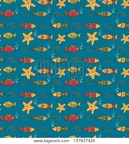 Cartoon hand-drawn seamless underwater pattern with fishes and marine life. Soft color vector background.