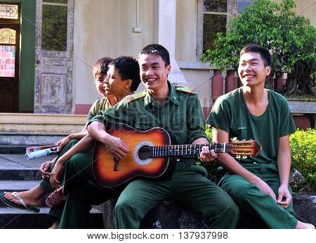 LANG SON, Vietnam, February 18, 2016 group of army soldiers, Lang Son Province, Vietnam. Theater, entertainment, guitar