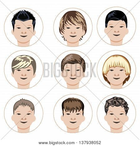 Set of boys faces. Flat vector illustration. Grouped for easy editing.