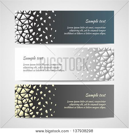 Set of three banners with abstract modern pattern. Vector design template.