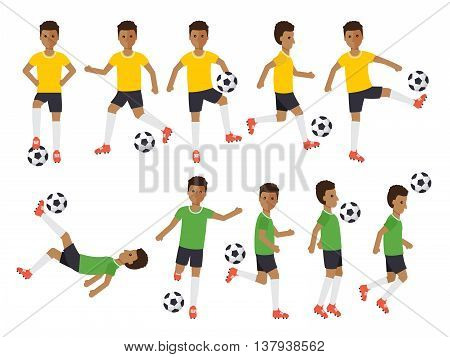 Black soccer sport athletes football players playing kicking training and practicing football. Flat design people characters.