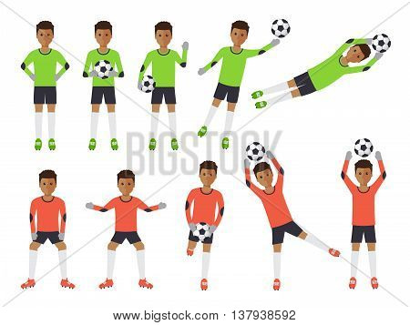 Black soccer sport athletes football goalkeeper playing kicking training and practicing football. Flat design people characters.