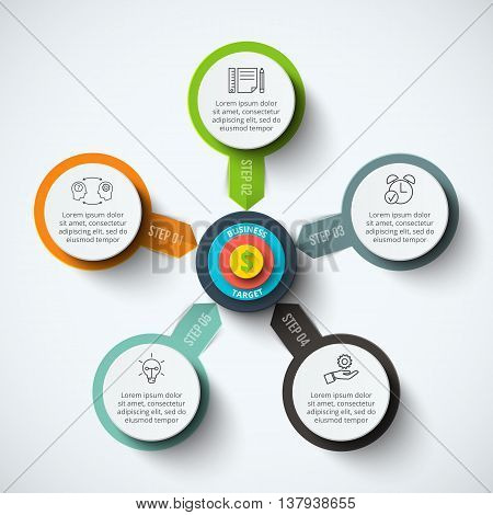 Vector circle infographic with target. Template for cycle diagram, graph, presentation and round chart. Business concept with 5 options, parts, steps or processes. Data visualization.