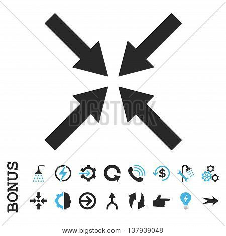 Center Arrows vector bicolor icon. Image style is a flat iconic symbol, blue and gray colors, white background.