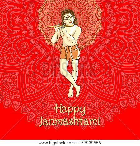 Illustration Of Lord Krishana In Happy Janmashtami Red Background Indiian Mandala Vector
