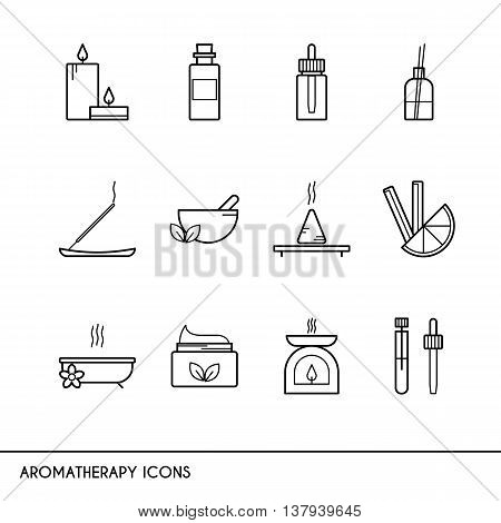Vector line icons with aromatherapy symbols. Line icons of incense candles oil burner essential oil and other.