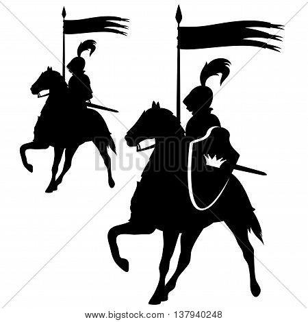 Knight with a crown shield riding a horse - black and white vector silhouette design set