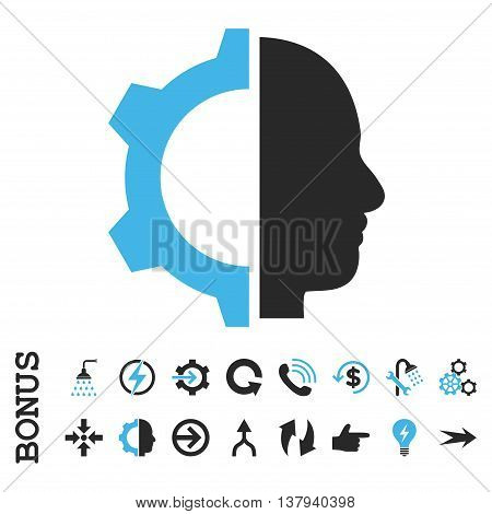 Cyborg Gear vector bicolor icon. Image style is a flat iconic symbol, blue and gray colors, white background.