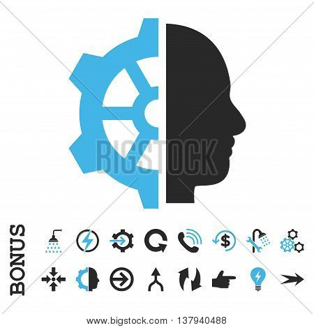 Cyborg Gear vector bicolor icon. Image style is a flat pictogram symbol, blue and gray colors, white background.