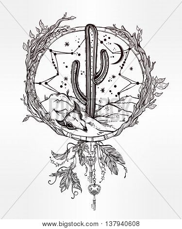 Hand drawn flash tattoo style dreamcatcher with native American desert landscape. Skull with cactus and moon. Vector illustration isolated. Ethnic design, mystic tribal boho symbol for your use.