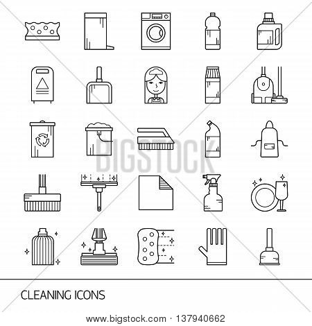 Vector Line Cleaning Icon Set, Emblems And Logos.