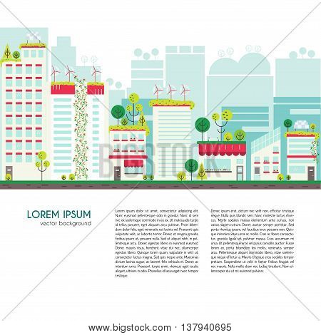 Flat Design Vector Illustration With Ecology City.