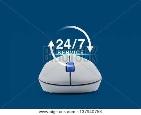 Wireless computer mouse with button 24 hours service icon over blue background Full time service concept