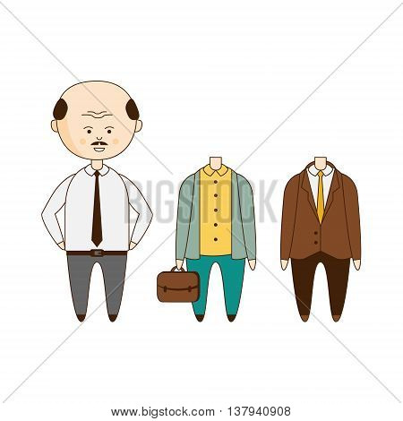 Bold Man Wardrobe Flat Outlined Hand Drawn Icons Set In Fun Comic Style Isolated On White Background
