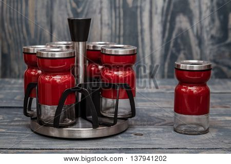 Group Of Red Modern Spice Shakers