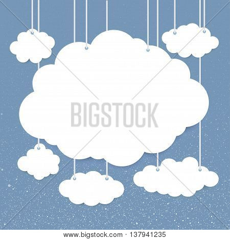 Vector paper clouds on a background of snow-covered sky. Eps 10.