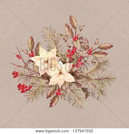 Christmas retro watercolor decorative composition with poinsettia flowers, Rowan, fir-tree and Holly branch