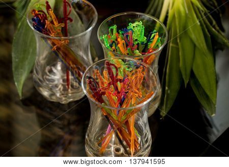 Sticks For Canap S In A Glass Cup