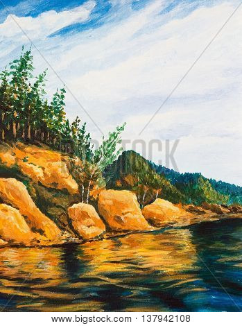 Taiga river with a steep Bank overgrown forest. Oil painting