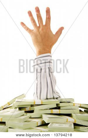 A hand stretching out of pile of money