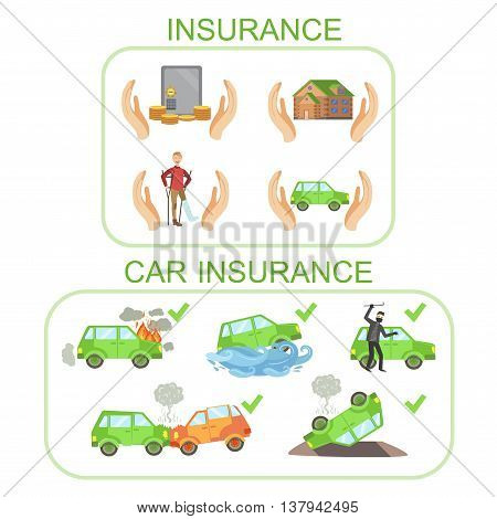 Car And Other Insurance Infographic Poster In Simple Flat Bright Color Style On White Background