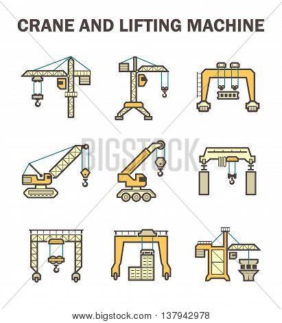 Crane and lifting machine icon set isolated on white background.