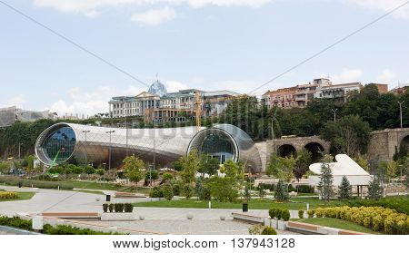 TBILISI, GEORGIA -August 7, 2013. :Construction of the concert hall in Tbilisi. Tbilisi is the capital of Georgia