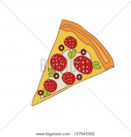 Pizza Slice With Pepperoni Cartoon Outlined Simplified Flat Vector Illustration Isolated On White Background