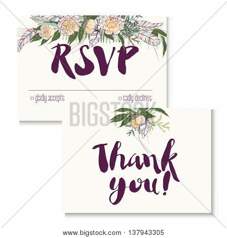 Vedding card set in trendy boho style of 2016. Decorated with big floral boucket and feathers. Includes rsvp and thank you cards templates.