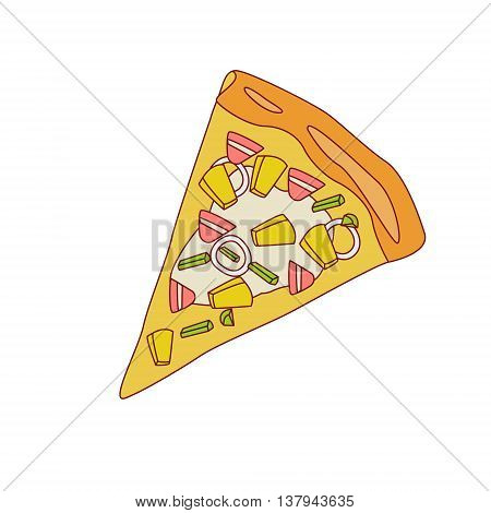Pizza Slice With Pineapple And Bacon Cartoon Outlined Simplified Flat Vector Illustration Isolated On White Background