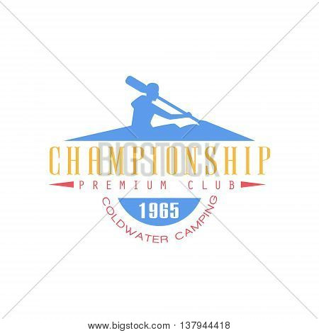 Rafting Championship Emblem Classic Style Vector Logo With Calligraphic Text On White Background
