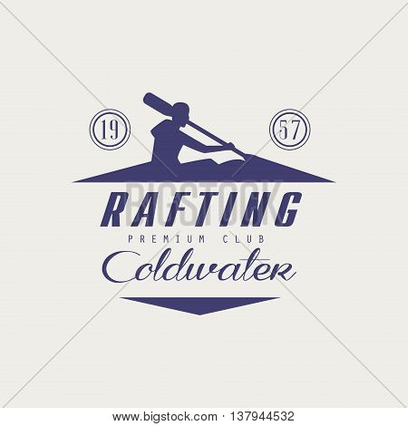 Coldwater Rafting Emblem Classic Style Vector Logo With Calligraphic Text On White Background