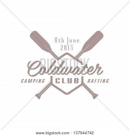 Coldwater Camp Emblem Classic Style Vector Logo With Calligraphic Text On White Background