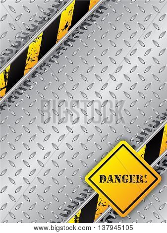 Abstract industrial brochure design with tire tracks metallic plate and danger text