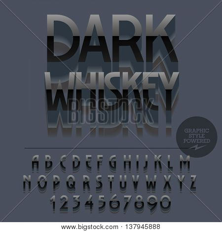 Set of slim glossy plastic alphabet letters, numbers and punctuation symbols. Vector reflective black lable with text Dark whiskey. File contains graphic styles