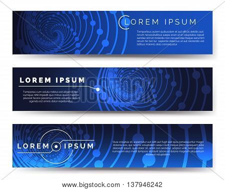 Vector medicine banners with blue background and glow vortex structure. Vector illustration