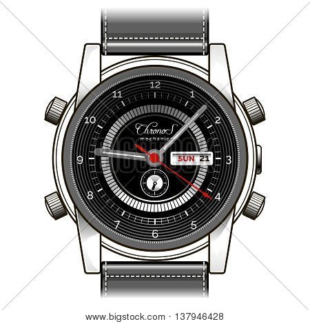 Vector hand watch. Mens wrist watch vector illustration