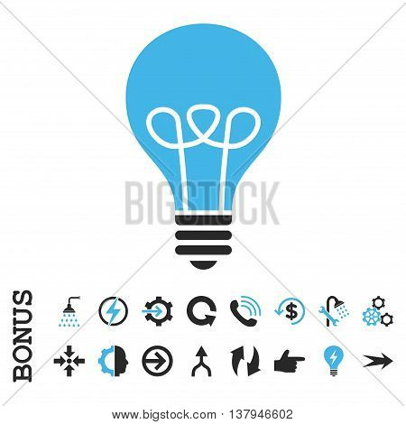 Lamp Bulb vector bicolor icon. Image style is a flat pictogram symbol, blue and gray colors, white background.