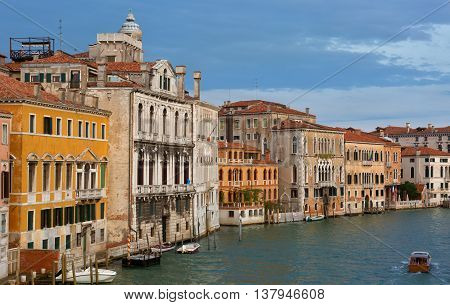 Gondolas and boats in the Grand Canal Venice