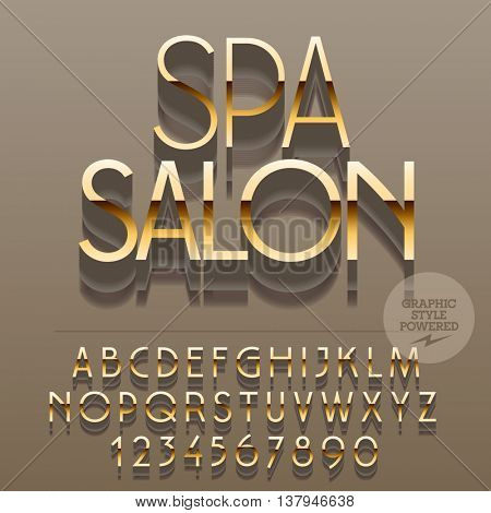 Set of slim glossy golden alphabet letters, numbers and punctuation symbols. Vector reflective elite logo with text Spa salon. File contains graphic styles
