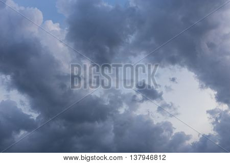 Black Cloud On Blue Sky, Bad Weather Background
