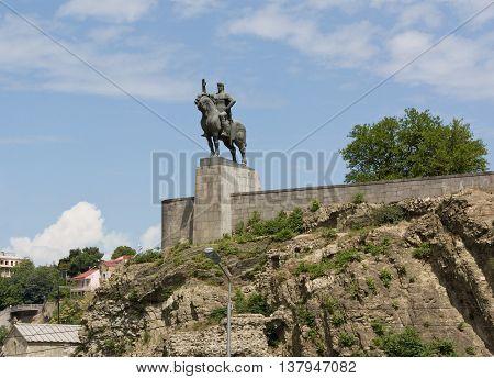 TBILISI, GEORGIA -AUGUST 7,2013:Vakhtang I Gorgasali statue in Tbilisi, Georgia