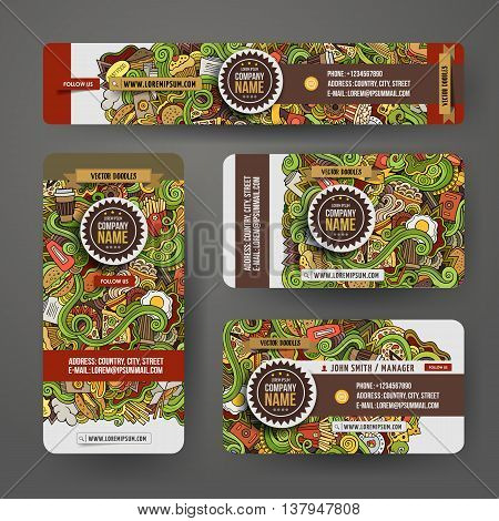Corporate Identity vector templates set design with doodles hand drawn fastfood theme. Colorful banner, id cards, flayer design. Templates set