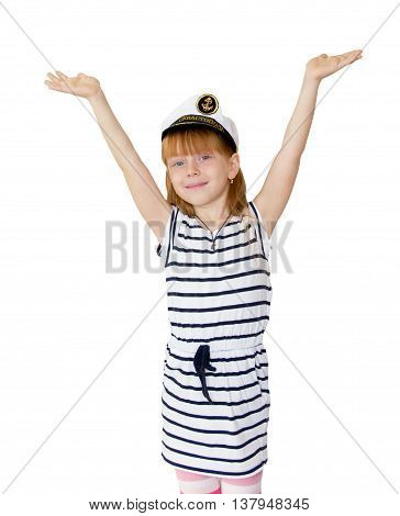 The girl in the marine cap on white background