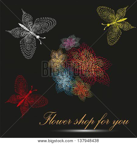 Vector illustration of the flower shop for you Image for business or flower shop for you on a black background five colors and three butterfly pointillism style
